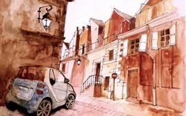 Stick figura, cidade, rua, carro