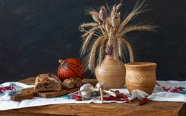 Preview wallpaper Still life, bread, pumpkin, garlic, peppers, vase, wheat