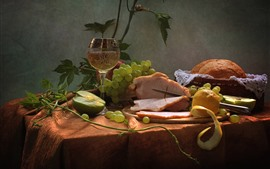 Nature morte, viande, raisins, coupe, vin, pain, nourriture