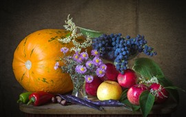 Still life, pumpkin, peppers, asters, apples, grapes