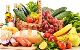 Preview wallpaper Still life, vegetables, fruit, peppers, tomatoes, bread, grapes, banana