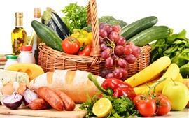 Натюрморт, овощи, фрукты, перец, помидоры, хлеб, виноград, банан