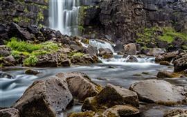 Камни, камни, вода, водопад