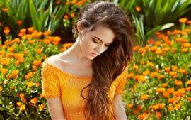 Summer girl, orange skirt, flowers