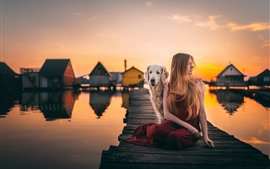 Sunset, bridge, girl and dog