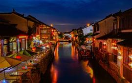 Aperçu fond d'écran Suzhou Shantang Street, belle nuit, rivière, maisons, lumières