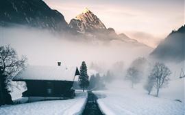 Preview wallpaper Switzerland, Alps, mountain, snow, house, fog
