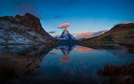 Preview wallpaper Switzerland, beautiful nature landscape, mountains, lake, water reflection
