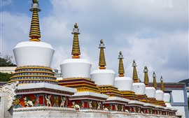 Taer, templo, branca, torre, qinghai, china