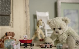 Preview wallpaper Teddy bear and toy car