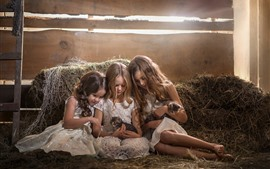 Preview wallpaper Three little girls and kittens, children