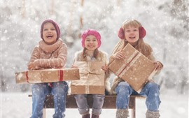Preview wallpaper Three little girls, childs, snow, gift, winter