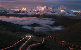 Preview wallpaper Tibet, beautiful nature landscape, mountains, road, light lines, fog
