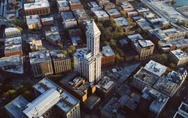 Vista superior de la ciudad, edificios, carreteras, Seattle, Estados Unidos