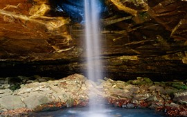 Preview wallpaper USA, Arkansas, waterfall, cave, rocks