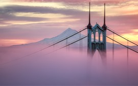Preview wallpaper USA, Portland, bridge, mist, morning