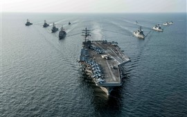 Preview wallpaper USS Ronald Reagan carrier, Navy, battleship, weapons, sea