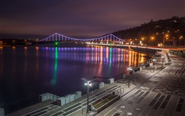 Preview wallpaper Ukraine, Kiev, city, night, bridge, lights