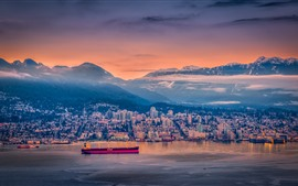 Preview wallpaper Vancouver, port, ship, city, dusk, houses, lights, Canada