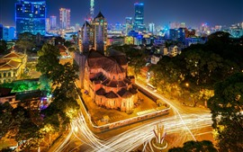 Preview wallpaper Vietnam, city night, roads, lights, houses
