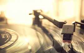 Preview wallpaper Vinyl record player, macro photography