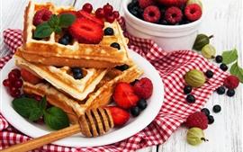 Waffles, bayas, comida