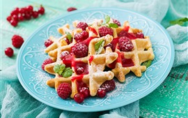 Preview wallpaper Waffles, powdered sugar, raspberry