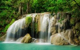 Waterfall, jungle, trees, water