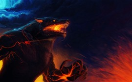 Preview wallpaper Werewolf, burning eyes, claws, art picture