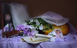 White and purple flowers, guitar, music score
