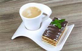 Aperçu fond d'écran Tasse blanche, café, gâteau au chocolat, dessert