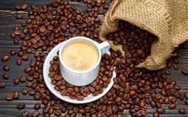 Copo branco, café, café em grão, saco