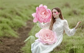 Preview wallpaper White dress girl and huge pink rose
