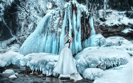 Preview wallpaper White skirt girl, icicle, snow, winter