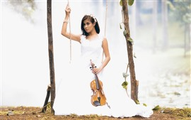 Preview wallpaper White skirt girl, swing, violin, music