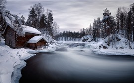 Preview wallpaper Winter, snow, river, house, trees