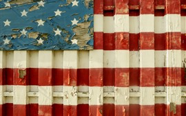 Preview wallpaper Wood fence, USA flag painting