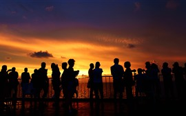 Preview wallpaper Xisha Islands, sea, people, sunset, silhouette
