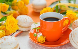 Preview wallpaper Yellow roses, coffee, macaron, orange cup