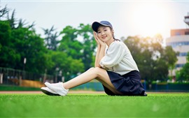 Young Asian girl, smile, meadow, school