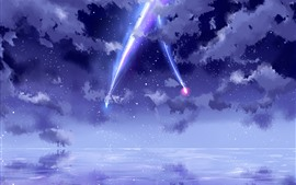 Preview wallpaper Your Name, beautiful sky, meteor, anime