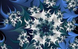 Абстрактные цветы, узор, синий и белый