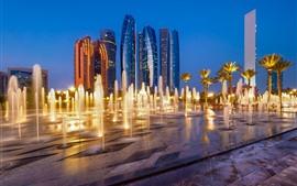 Abu Dhabi, Emirados Árabes Unidos, cidade, arranha-céus, fonte, noite