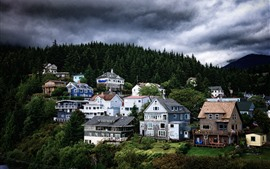 Preview wallpaper Alaska, houses, trees, clouds, dusk, USA