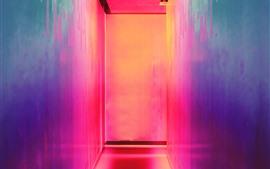Beco, parede, luz colorida