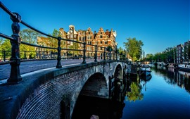 Preview wallpaper Amsterdam, Netherlands, bridge, river, city, morning