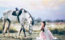 Niña antigua, zhaojun, caballo