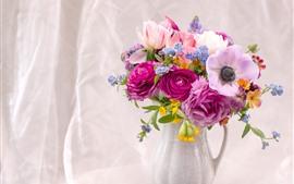 Preview wallpaper Anemone, tulips, peony, vase