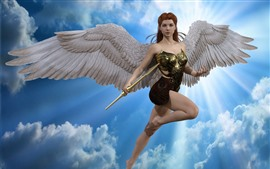 Angel girl, flight, wings, armor, fantasy