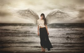 Angel, girl, white wings, sea